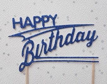 Mens Birthday Cake Topper, Art Deco Cake Topper, Glitter Cake Topper, Cake Decoration, Cake centrepiece, Blue Glitter Topper, For Him