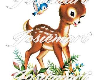 Vintage Digital Download Deer with Bird in Grass Kawaii Vintage Image Collage Large JPG and PNG