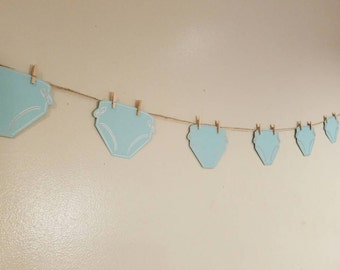 Baby shower decoration, neutral gender baby shower, diaper party decorations, diaper garland, shower garland, diaper banner, diaper bunting