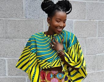 Samantha African Print Cape Top Bolero with Kimono Sleeves Versatile Front to Back Ankara Blouse