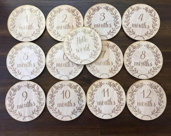 Leafy Wreath Baby Monthly Milestone Plaques