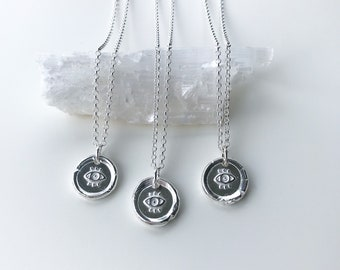 Eye of Protection Necklace / Silver Necklace