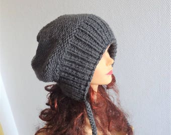 Slouchy Ear Flap Hat gray slouchy hat Knitted slouchy beanie Womens grey hat Split Brim Slouchy Beanie Women Accessories gray Winter Hat