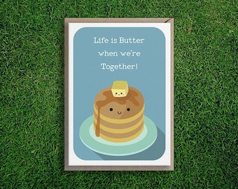 Greeting Cards   Butter Together Card Anniversary Friendship Love Appreciation Boyfriend Girlfriend Cute & Quirky Pancake Maple Syrup Butter