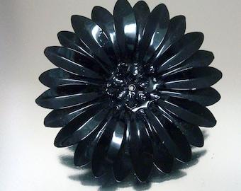 Huge Black Baked Enamel Metal Flower Pin Vintage Jewelry