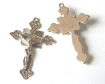 Shape color 48x31mm silver crucifix cross pendant