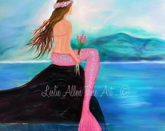 "Mermaid Art Print Little Mermaid Girl Mermaid Nursery Art Girls Room Decor Mermaid Theme Wall Art ""SWEET MERMAID"" Leslie Allen Fine Art"