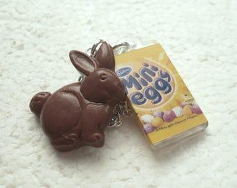 Chocolate Bunny Pendant. Polymer Clay.