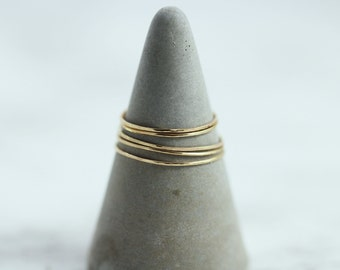 Threadbare Stacking Rings - Micro Thin .5mm 14kt Yellow Gold-Filled Rings in a Hammered Shiny Finish, Minimal Gold Rings