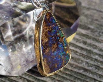 Australian Boulder Opal necklace Sterling Silver with 22K Gold - blue and brown opal necklace - boulder opal pendant - floral opal necklace
