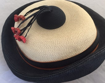 Summer Straw Hat Sailor Style Blue and Cream with Red flower embellishments Delightful and Fun 1960s