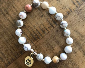Handmade Stretch Bracelet Featuring 8mm Quartz Bead and Gold Paw Print Charm Bracelet- ABBY FUNDRAISER