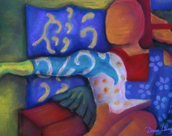 Pastel Painting: Inside and Out - Azure and Crimson Passage - Art Card, ACEO Edition