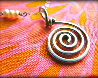 Spiral Energy Necklace - Energy Work Reiki Healing Touch Qi Gong - Sterling Silver - Gift Birthday Daughter Wife Mother Mom Sister Cousin
