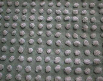 "Handmade Jadeite GREEN with WHITE Chenille POPS Vintage Chenille Bedspread Fabric - 24"" X 25"" - #3"