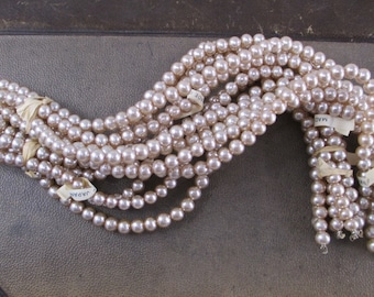 12 Vintage Glass Pearl Strands Ivory Cream Color 1950s Antique Style Off White Simulated 7mm Small Beads for Necklace Bracelet Hank String