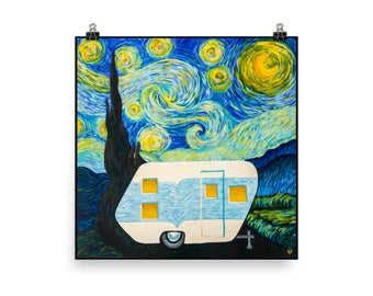 Starry, Starry Night Vintage Trailer Poster Print