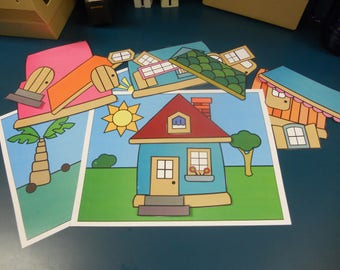 Build a House colorful digital download, printable, children's activity, kit, Build a Better World activity, SRP