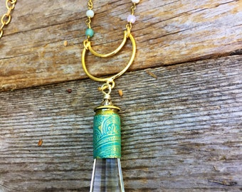 Crystal Necklace with Etched Bullet Casing