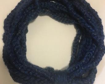 Blue Braided Infinity Scarf