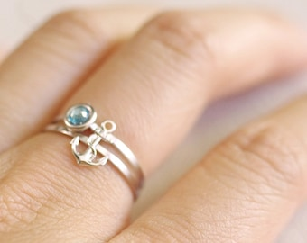 tiny anchor ring . silver anchor ring . anchor stacking ring with rope . stackable anchor ring . anchor jewelry . nautical jewelry