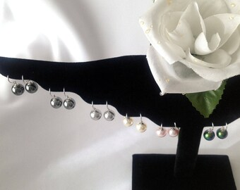 3/4 Inch Sterling Silver and 10mm Swarovski Pearl Earrings