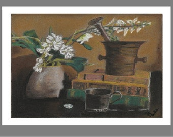 "PRINT of Original Signed Pastel Painting, Flowers and Books Artwork, ""Metal, and Books, and Flowers OH MY!"""