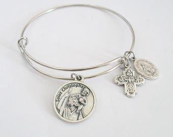 Saint Christopher Bangle Bracelet ~ St Chris Silver Bracelet Patron Travel ITALY Miraculous medal  Catholic Jewelry Bracelet Gift