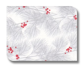 Christmas paper napkin for decoupage x 1.  Silver branches and red berries.   No 1009