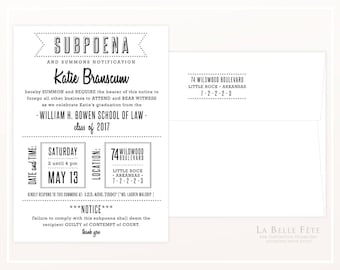 SUBPOENA Law School GRADUATION PARTY invitation