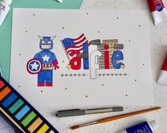 Personalised Name Art - Lego Superhero - Captain America - A4 Watercolour - Lego Room Decor - Boys Room Decor - Lego - Superhero - Name Art