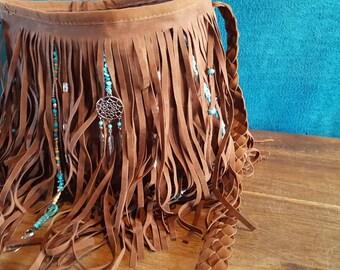Bohemian fringe bag, with turquoise