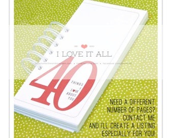 40 30 20 50 Things I Love About You, Birthday Gift, Anniversary Card,  Romantic Coupon Book, I Love You, Deployment Gift, Anniverary Gift