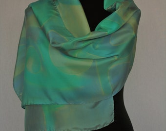 Silk Scarf (pongé 6), 165 x 45 cm, handpainted in grey and green (L-0064)