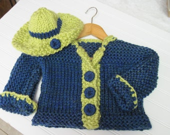 Toddler Jacket and Hat in  Bulky Knit Pattern Child 3 to 8 years old