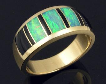 Australian opal inlay and black onyx inlay 14k gold ring