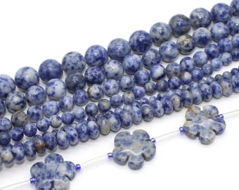 Blue Spot Jasper Stone Beads - Selection of sizes in Round, Rondelle, and Flower Shapes