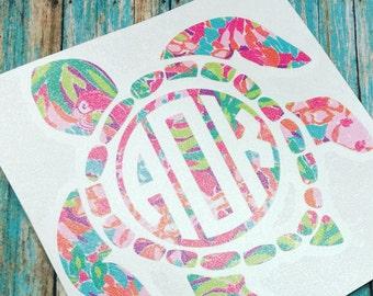 Sea Turtle Monogram Decal, Turtle Monogram, Lilly Inspired, Turtle Decal, Monogram Decal, Car Decal, Yeti Decal , Yeti Sticker