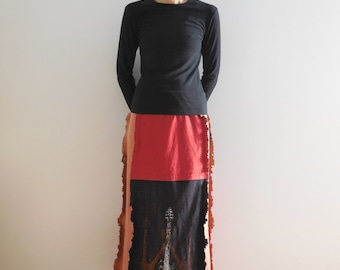 Womens Long T Shirt Skirt Upcycled Tees Ecofriendly Cotton Handmade Gift For Her Spring Summer ohzie