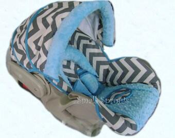 Mason Grey & White Chevron with Aqua Blue Minky Dot Infant Car Seat Cover 5 piece set