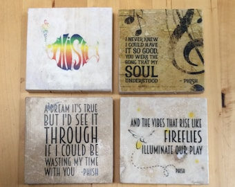 Phish lyrics coasters, set of 4, 4 x 4, tumbled marble tiles with cork backing: also available in prints or canvas