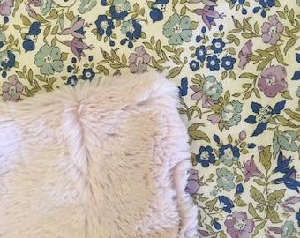 NEW Liberty Fabrics! Baby Lovey Security Blanket Liberty  Lavender Faux Fur  Blue Roses Green  So soft!  Nursery Stroller Shower gift