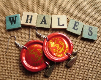 ANCHORS AWAY -- Red Anchor Brewing Co. Bottle Caps with Gold Whale Charms