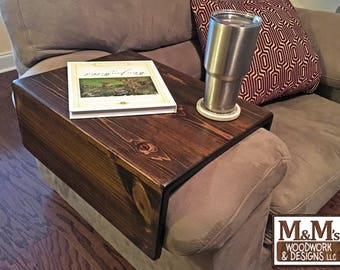 Large Couch Tray ~ Handmade Custom fit Wood Sofa Arm Rest Table TV Tray