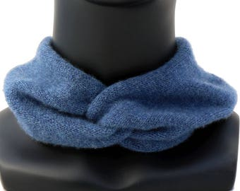 Blue Collar Knit Cowl Knit Collar Knitted Scarf Cashmere Scarf Cowl Wrap Scarf Collar Blue Cashmere Neck Warmer Knit Neck Warmer Soft Scarf