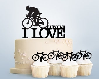 I Love Bicycle Acrylic Toppers for Party Wedding Birthday Decorations