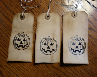 SET of 3 Large Primitive Halloween JackOLantern Hang Tags