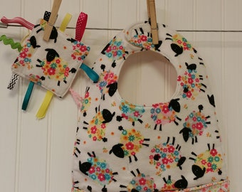 Baby Gift Set, Baby Shower Gift, Toddler Pocket Bib, Crinkle Toy
