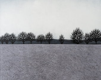 Intermission 10 - Archival 8x8 Art Print - Contemporary Landscape Painting - Winter Trees - by Natasha Newton