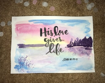 His love give life watercolor painting